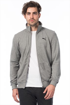 Puma Erkek Grı Ceket - ESS Sweat Jacket, TR Medium Gray Heather -