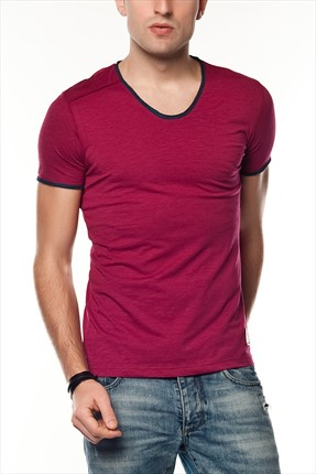 Superlife Erkek Bordo Pamuk T-Shirt SPR 217
