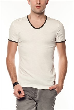 Superlife Erkek Krem Pamuk T-Shirt SPR 217