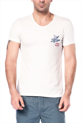 Superlife Erkek Krem T-Shirt SPR 361