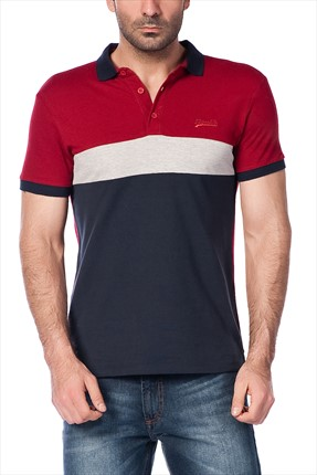 Superlife Erkek Bordo Gri Polo Yaka T-shirt SPR 394