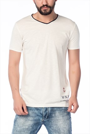 Superlife Erkek Krem Lacivert T-Shirt SPR 371