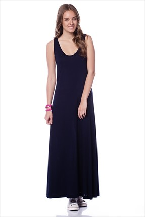 Kadın Elbise Solid Side Panel Tank Maxi Dress