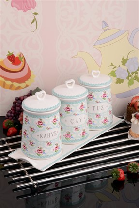 Kitchen World 3'lü Tepsili Saklama Seti Bone China