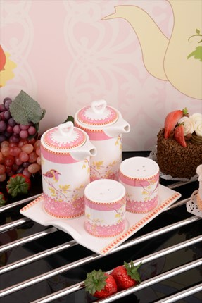 Kitchen World Bone China Tepsili Yağlık Sirkelik Ve Tuzluk Seti