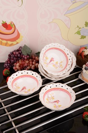 Kitchen World 6'lı Bone China Delikli Nakışlı Çorba Kasesi
