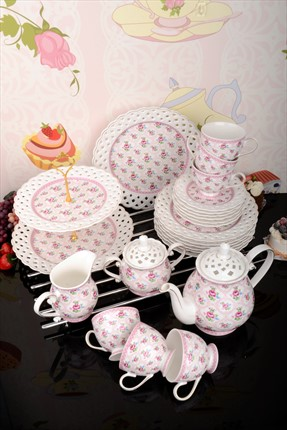 Kitchen World 25 Parça Bone China Çay Seti