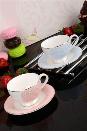 Kitchen World Bone China 2 Kişilik Rose Fincan Takımı