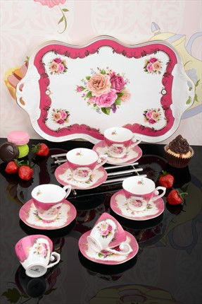 Royal Windsor Bone China Tepsili 6'lı Kahve Fincan Tk İST-42/Renkli