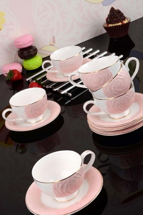Kitchen World Bone China 6 Kişilik Rose Fincan Takımı