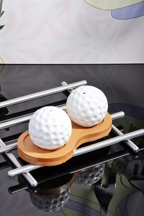 Kitchen World Bambu Standlı Porselen Golf Topu Tuzluk Seti Beyaz