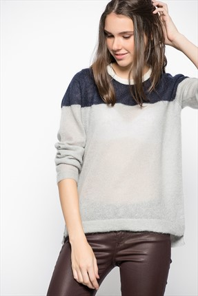 Tommy Hilfiger Kadın Kazak /LİGHT GREY HTR/NİGHT SKY/S