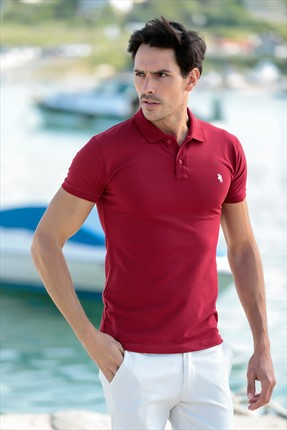 PHILIPLOREN Bordo Lakost Kumaş Polo Yaka T-Shirt