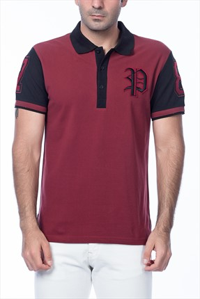 PHILIPP PLEIN Erkek Bordo Polo Yaka T-shirt
