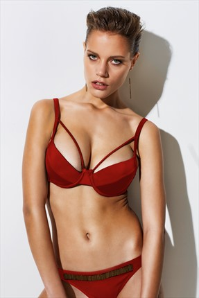 Less Is More Kadın Bordo İpli Bikini Üstü