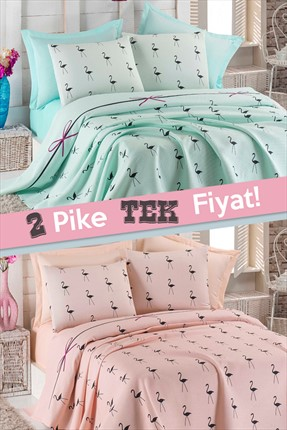Ev & Ev Home 2'li Tek Kişilik Pike Flamingo Mint-Pudra