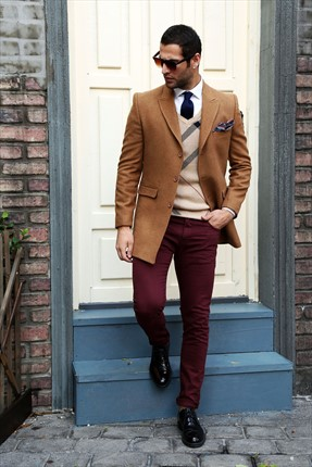 Sateen Erkek Bordo Slim Fit Renkli Denim Pantolon