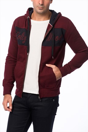Superlife Erkek Bordo Lacivert Pamuk Sweatshirt Hırka SPR 589