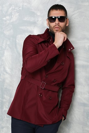 Sateen Erkek Bordo Trenchcoat