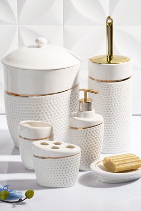 Kitchen World 6'lı Banyo Seti Bone China Bny-504-Altın Ksv
