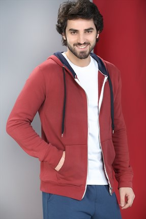 Superlife Erkek Bordo Pamuk Sweatshirt Hırka SPR 593