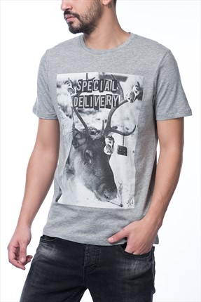 Jack & Jones Açık Gri T-Shirt - Prison Originals Tee SS Crew Neck -