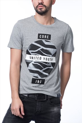 Jack & Jones Açık Gri T-Shirt - Zen Core Tee SS Crew Neck -