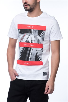 Jack & Jones Beyaz T-Shirt - Zen Core Tee SS Crew Neck -