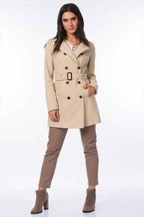 United Colors of Benetton Bej Kadın Trenchcoat