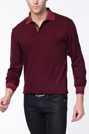 Dewberry Erkek Bordo Polo Yaka Sweatshırt