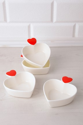 Kitchen World 4'lü New Bone China Kalp Çerezlik Beyaz