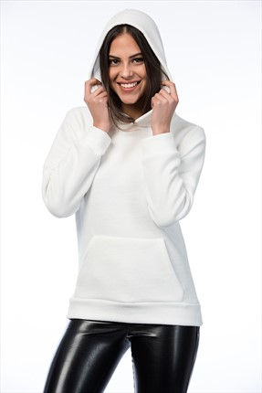 Mightee Kadın Ekru Polar Sweatshirt