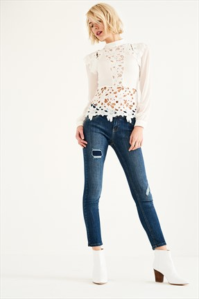 TRENDYOLMİLLA Dark Blue Patch Detaylı Normal Bel Skinny Jean