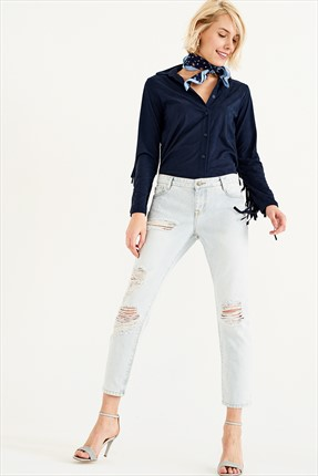 TRENDYOLMİLLA Light Blue Yırtıklı Normal Bel Boyfriend Jean