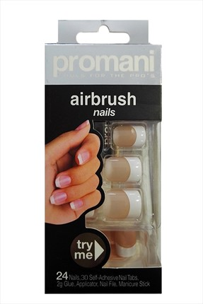 Promani Bej Renk Takma Tırnak - Air Brush Nails Fingers 5009