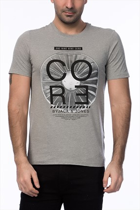 Jack & Jones Açık Gri T-Shirt - Biard Core Tee SS Crew Neck -