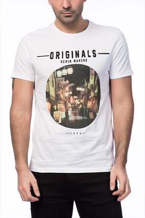 Jack & Jones Beyaz T-Shirt - Cartoon Originals Tee SS Crew Neck -