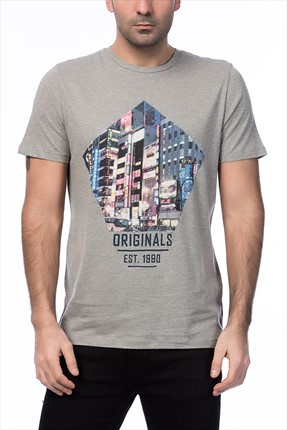 Jack & Jones Açık Gri T-Shirt - Cartoon Originals Tee SS Crew Neck -