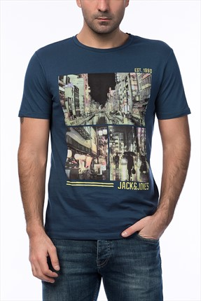 Jack & Jones Koyu Mavi T-Shirt - Cartoon Originals Tee SS Crew Neck -