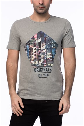 Jack & Jones Gri T-Shirt - Cartoon Originals Tee SS Crew Neck -