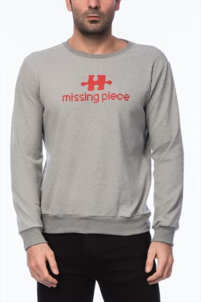 Mightee Erkek Gri Mıssıng Pıece Sweatshirt Lovemsw05