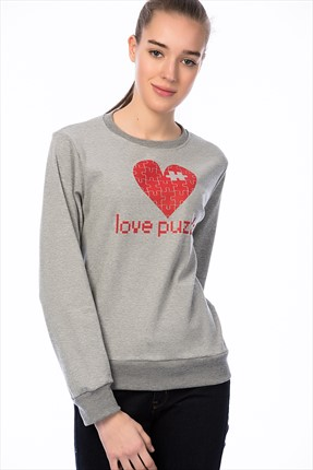 Mightee Kadın Gri Melanj Love Puzzle Sweatshirt