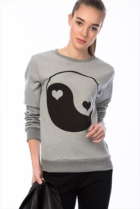 Mightee Kadın Gri Melanj Love Yıngyang Sweatshirt