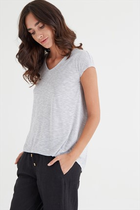 Oxxo Kadın Light Grey Melange T-shirt