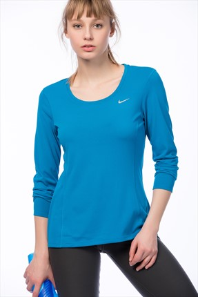 Nike Kadın Sweatshirt - Dri-Fit Contour Long Sleeve