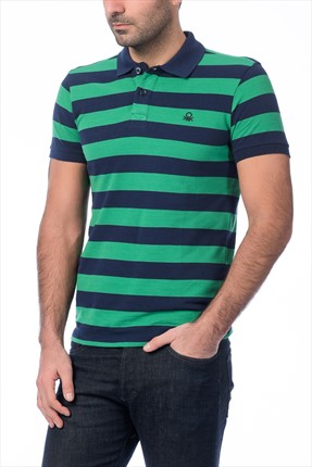 United Colors of Benetton Erkek Çizgili Polo Yaka T-shirt