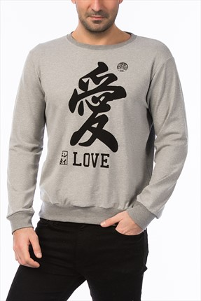 Mightee Erkek Gri Melanj Jap Love Sweatshirt