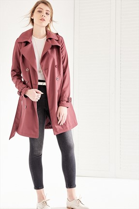 Vavist by trendyol Bordo Kemerli Trenchcoat
