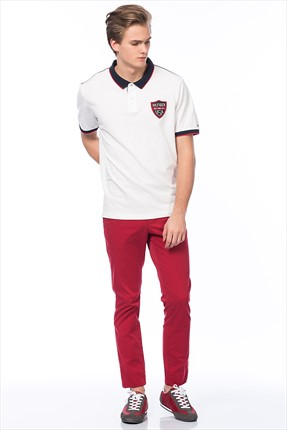 Erkek Polo Yaka T-shirt /Classic White/ Multi