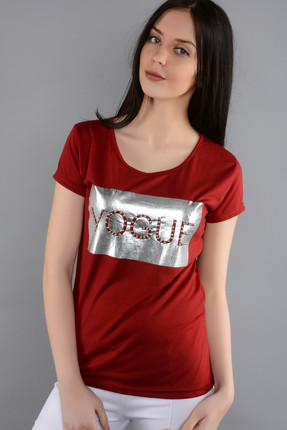 Rodin Hills Bayan Bordo T Shirt Varak Vogue Baskı İncili